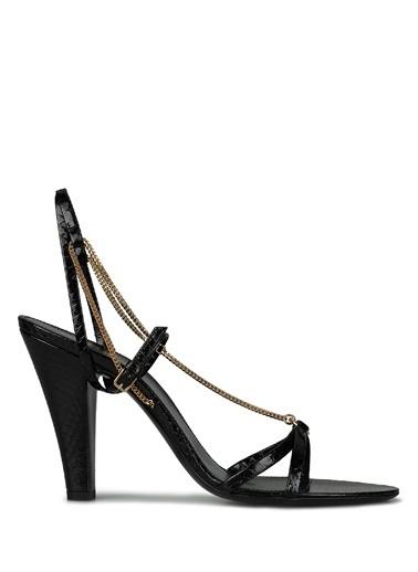 Saint Laurent Saint Laurent  Zincir Detaylı Kadın Sandalet 101621928 Siyah